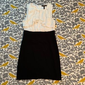 BCBGMaxAzria Black White Ruffled Dress EUC Size 8